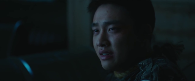 D.O. in character as Soo-hong's mentally disturbed hoobae in the military